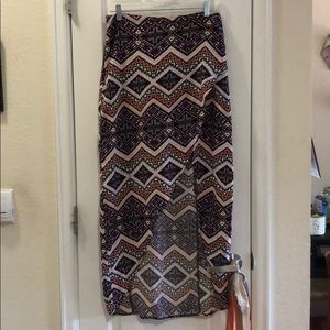 Express - High/Low Purple Tribal print skirt- sz M